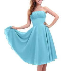 NWT FOREVER YOURS Aqua Strapless Bridesmaid formal